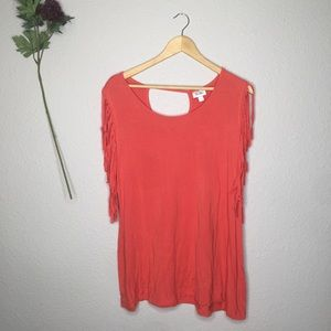 Avenue Orange Sleeveless Fringe Top Cutout Back 14